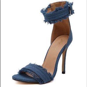 Ankle Strap High Heels Denim Sandals
